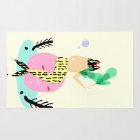 mermaid Area & Throw Rugs featuring mermaid by Alba Blázquez
