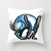 hare Throw Pillows featuring Hare by Meredith Nolan