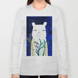 polar bear with botanical illustration in blue Long Sleeve T-shirt