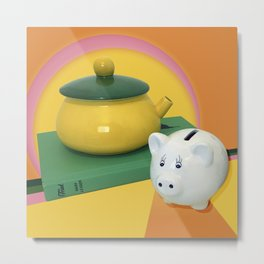 Pig and a Teapot Vintage Still Life Metal Print