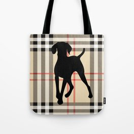WEIMARANER BEIGE PLAID Tote Bag