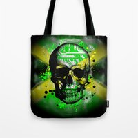 jamaica Tote Bags featuring Jamaica circuit Skull. by seb mcnulty