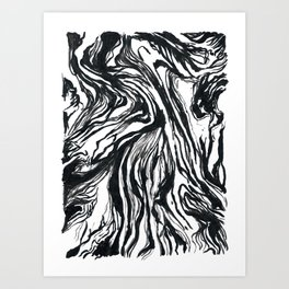 Marbled Black Art Print