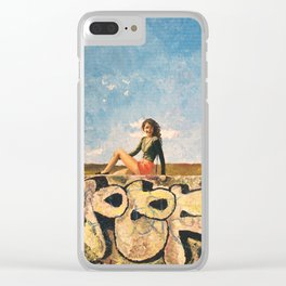 Girl on Graffiti Wall Clear iPhone Case