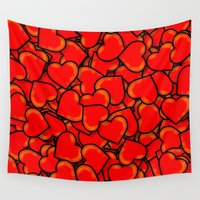 hearts Wall Tapestries featuring Heart by 10813 Apparel