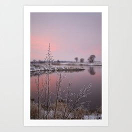Winter Sunset At River Bank Art Print