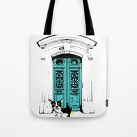 shameless Tote Bags featuring Shameless Dog by Ninostchka Coronado