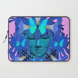BLUE BUTTERFLIES MORNING GLORY MASQUERADE ART Laptop Sleeve