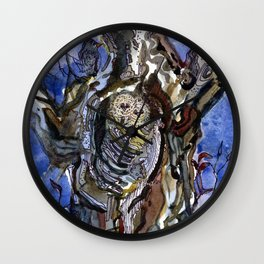Two Owls and Two Crows Share One Tree Wall Clock