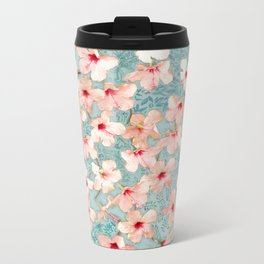 Shabby Chic Hibiscus Patchwork Pattern in Peach & Mint Metal Travel Mug