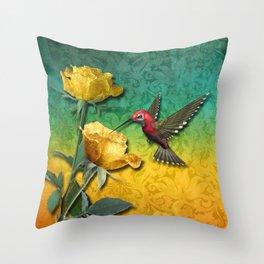 Hummingbird Gold Roses & Damask Throw Pillow