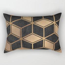 Charcoal and Gold - Geometric Textured Cube Design II Rectangular Pillow