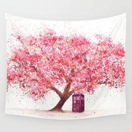 Tardis Tree Art Blossom Wall Tapestry