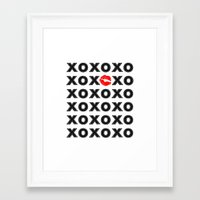 xoxo Framed Art Prints featuring XOXO by DuniStudioDesign