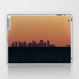 Boston skyline Silhouette at sunset from Gloucester Laptop & iPad Skin