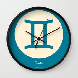 Gemini Symbol Blue Wall Clock