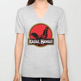 Kauai, Hawaii Jurassic Park Rooster Unisex V-Neck