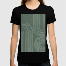 Hand drawn Geometric Lines in Forest Green 3 T-shirt