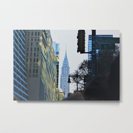 Empire State Building Looking Blue Metal Print