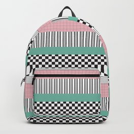 Pink and Teal Striped Pattern Backpack
