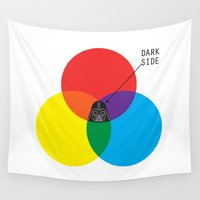 dark side Wall Tapestries featuring Dark Side by I Love Doodle