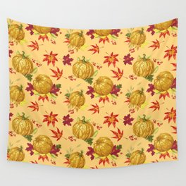 Ocher autumn pattern Wall Tapestry