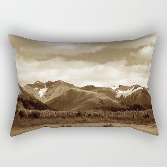 Alaskan Mountain Vista - Sepia Rectangular Pillow