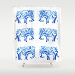 blue elephant watercolor Shower Curtain