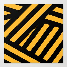 Black and yellow abstract striped Canvas Print