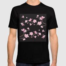 Cherry Blossom - Black Mens Fitted Tee MEDIUM Black
