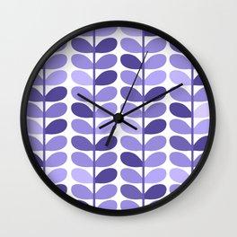 Leaf Design Lavender Ultraviolet Wall Clock