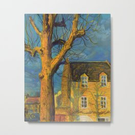 Yellow House Old Tree Landscape Normandy France, Pastel Painting Metal Print