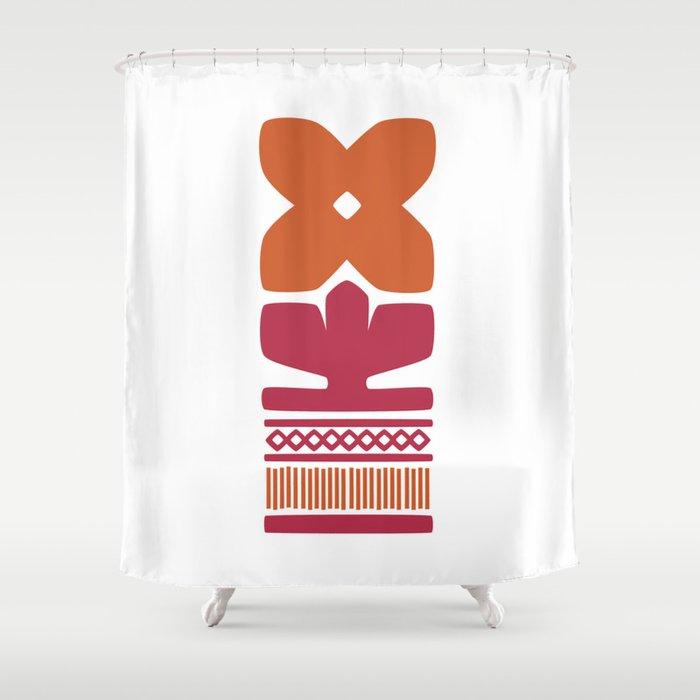 Nordic Orange Flower Shower Curtain By Kristiinaalmy
