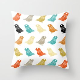 Colorful Birds Mid Century Modern Retro Throw Pillow