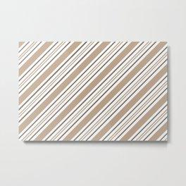 Pantone Hazelnut Nutmeg and White Thick and Thin Angled Lines - Stripes Metal Print