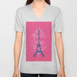 Girly Eiffel Tower Pink Whimsical Paris Typography Unisex V-Neck