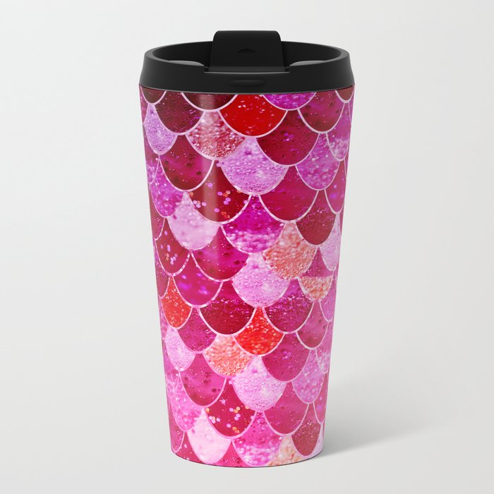 PINK  MERMAID Metal Travel Mug