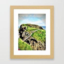 rope bridge Northern Ireland coast Framed Art Print