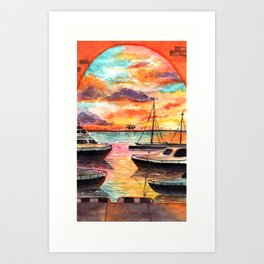 Colors of Sunset watercolor art Art Print
