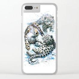 Little snow leopards Clear iPhone Case