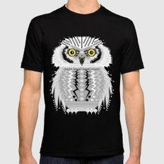 Geometric Snowy Owl MEDIUM Mens Fitted Tee Black