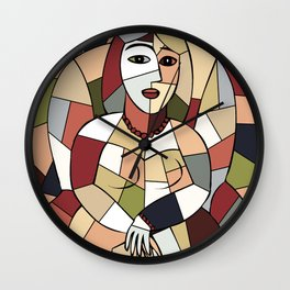 Woman with Kindle #5 Wall Clock