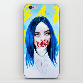 Billie Eilish Bad Guy blue music portrait fan art typography iPhone Skin