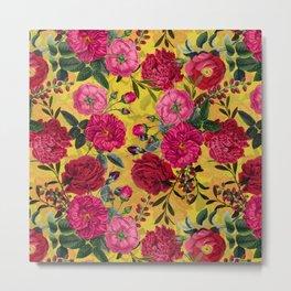 Vintage & Shabby Chic - Summer Tropical Roses Flower Garden Metal Print
