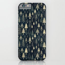 Christmas tree forest in gold iPhone Case
