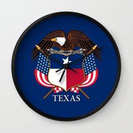Texas flag and eagle crest - original design by BruceStanfieldArtist Wall Clock