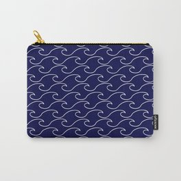 Sea Waves - white on darkblue pattern - Martitime Design Carry-All Pouch