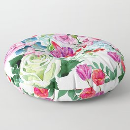 Floral Roses Tulips and Butterflies Floor Pillow