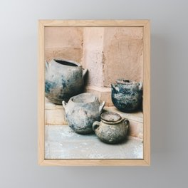 Pottery in earth tones | Ourika Marrakech Morocco | Still life photography Framed Mini Art Print