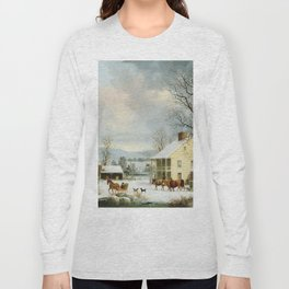 George Henry Durrie - Winter In The Country Long Sleeve T-shirt